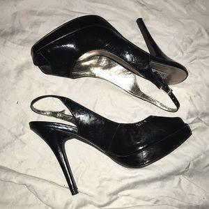 Open toed sling back heels